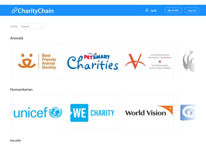 CharityChain – screenshot 1