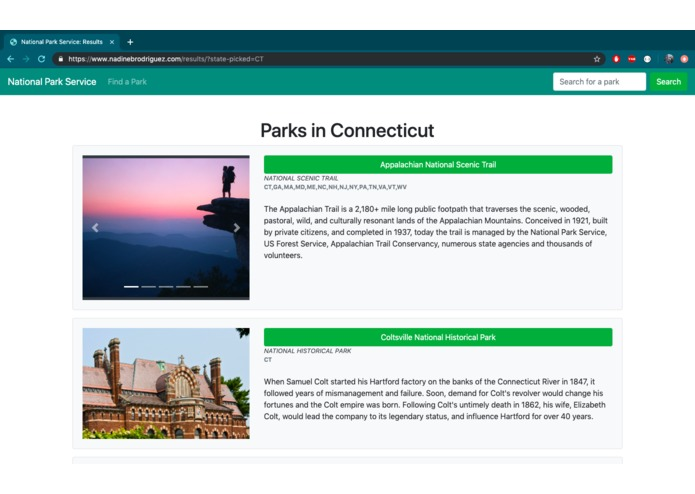 National Park Service Web App – screenshot 1