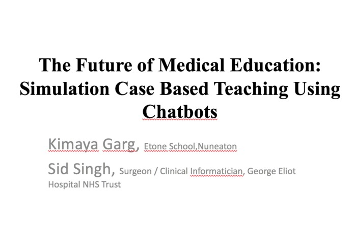 Simulation Case Based Medical Teaching Using Chatbots – screenshot 1