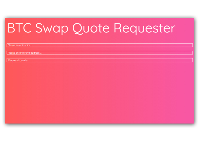 BTC Swap Quote Requester – screenshot 2
