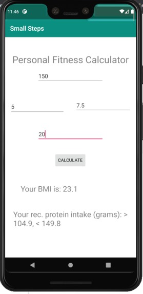 Small Steps Personal Fitness Calculator – screenshot 1
