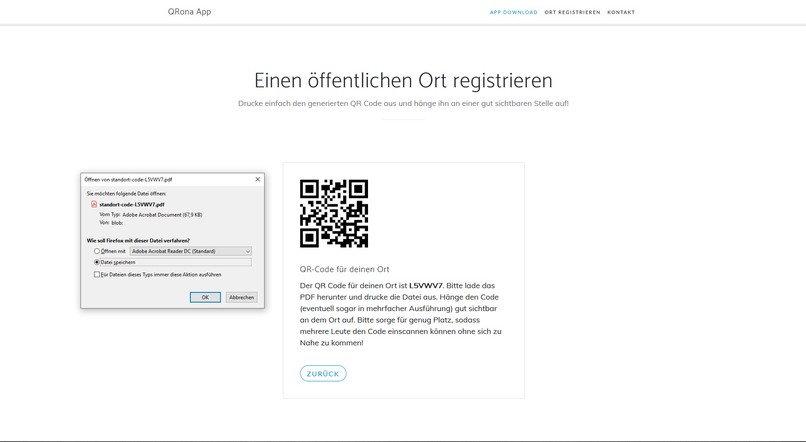 Corona QR-Tracker – screenshot 3