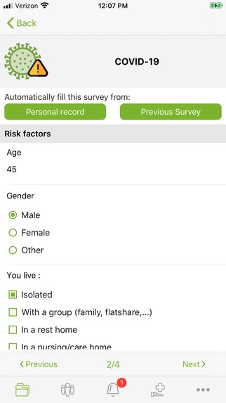 Risk stratification patient dashboard updated by patients  – screenshot 2