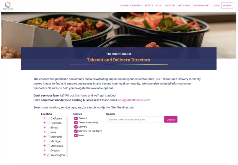 Intentionalist Takeout and Delivery Directory – screenshot 1