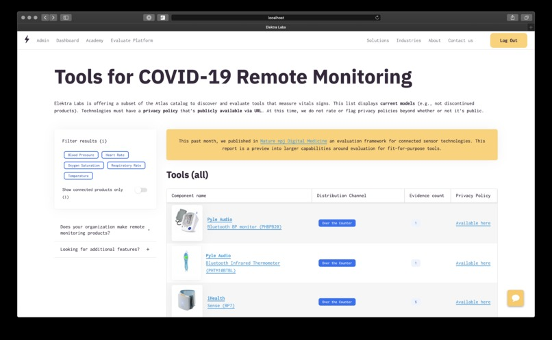 Remote monitoring to support health during COVID-19 – screenshot 1