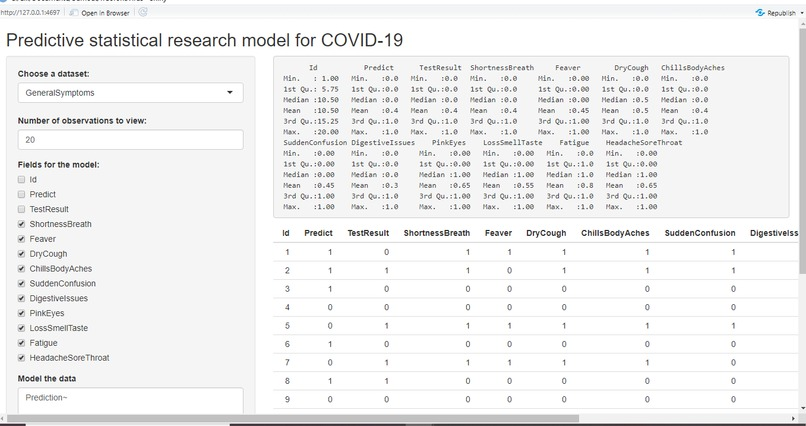 Predictive statistical research model for COVID-19 – screenshot 4