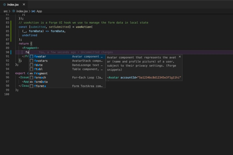 VScode Forge snippets extension – screenshot 1