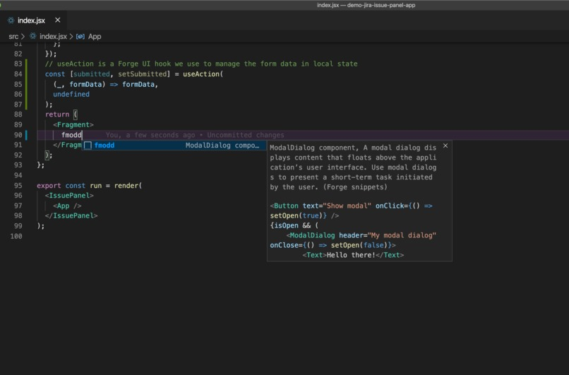 VScode Forge snippets extension – screenshot 2