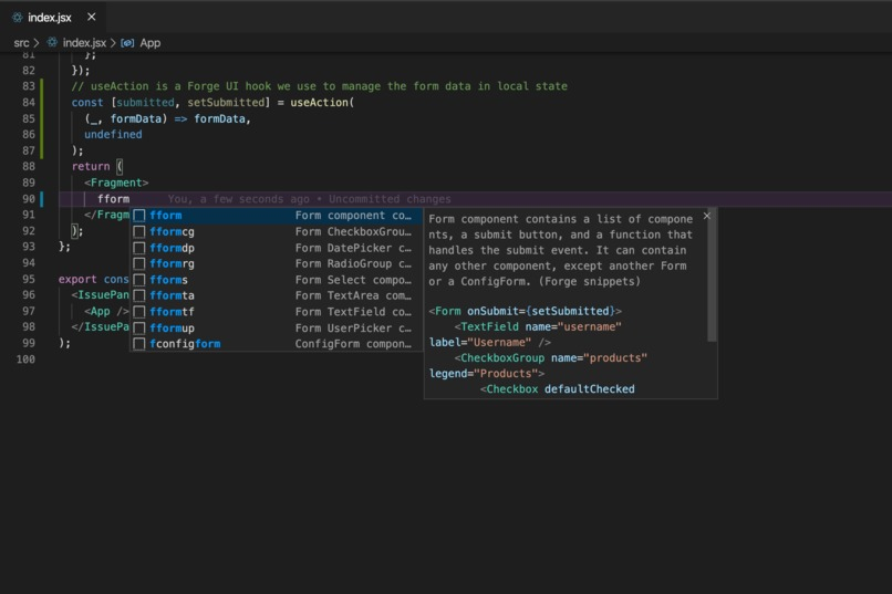 VScode Forge snippets extension – screenshot 3