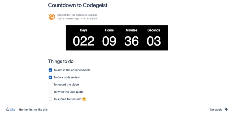 Countdown Timer for Confluence Cloud – screenshot 2