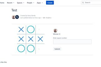 Tic tac toe for Confluence