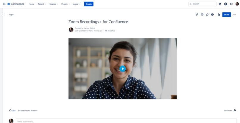Zoom Recordings+ for Confluence – screenshot 5