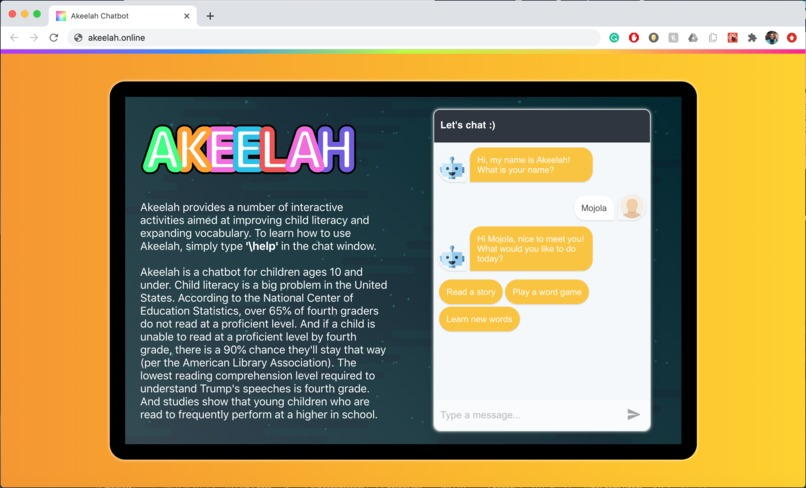 Akeelah: The Literacy Chatbot – screenshot 1