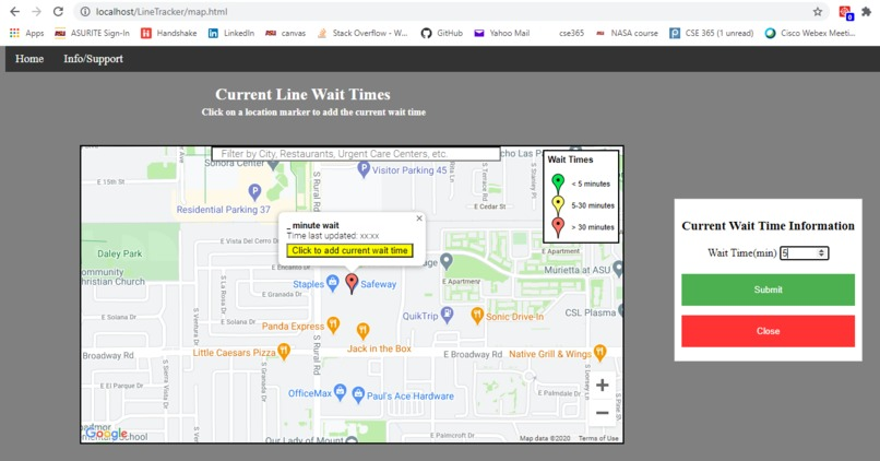 COVID-19 Line Wait Times – screenshot 1