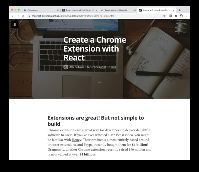 Build Chrome Extensions with React JS – screenshot 1