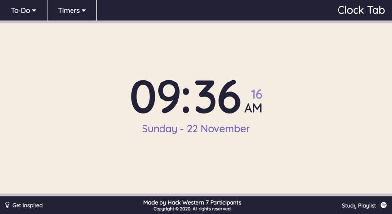 Clock Tab – screenshot 1