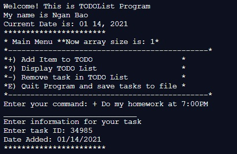 My Todo list Program – screenshot 5