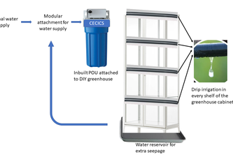 A point of use (POU) water disinfection system for plants