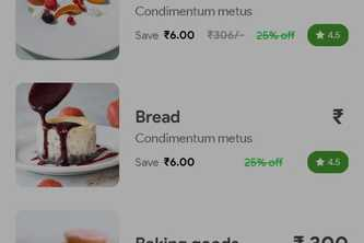 UI of E-commerce food delivery app