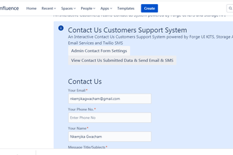 Contact Us Customers Support System on Confluence