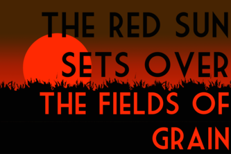 The Red Sun Sets Over the Fields of Grain
