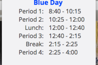 TJHSST Electron Daily Schedule