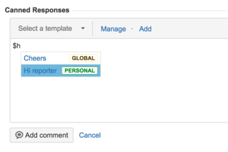 Canned Responses for JIRA Cloud