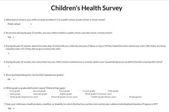 Children's Health Survey