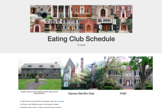 Eating Club Schedule