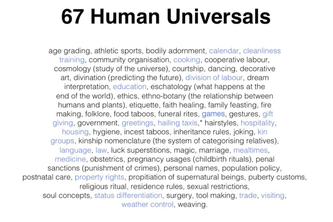Ideas for the human universals