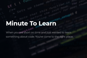 Minute to Learn