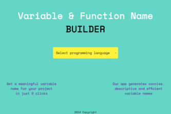 Variable & Function Name BUILDER