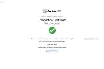 ContractSV - BitcoinSV backed documents