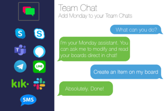 Team Chat - Add Monday in chat channels (teams, skype etc.)