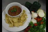 Roasted Poblano Five Bean Chili with Baked Tostito Scoops