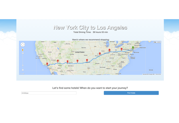 this web application allows you to plan out your next road trip our sophisticated geo location and recommendation system finds the most affordable hotels