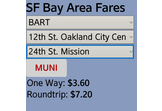 SF Bay Area Transit Fare Calculator